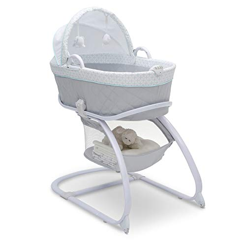 Delta Children Deluxe 2-in-1 Moses Bedside Bassinet Portable Crib, Merida