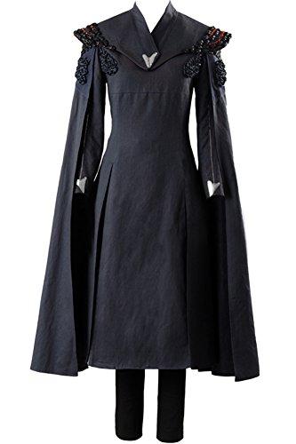 Cosplaysky Game of Thrones Costume Season 7 Daenerys Targaryen Dress Cape Small Black
