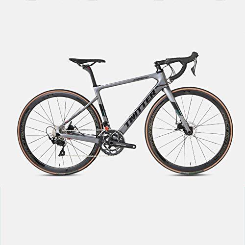 Yinhai Carbon-Rennrad, Shimano 105 / R7000 700C Carbon-Rennrad Mit Shimano 105 / R7000 22-Gang-Umwerfersystem Und Doppelscheibenbremse,Dark Grey 51cm