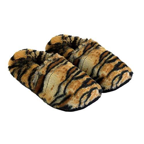 Thermo Sox aufheizbare Hausschuhe für Mikrowelle und Ofen - Mikrowellenhausschuhe Wärmepantoffeln Wärmehausschuhe Wärmeschuhe Fußwärmer Supersoft, Farbe:Tiger, Größe:36/40 EU