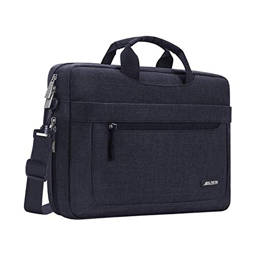 MOSISO Laptop Shoulder Bag Compatible with MacBook Pro/Air 13 inch, 13-13.3 inch Notebook Computer, Polyester Messenger Carrying Briefcase Sleeve with Adjustable Depth at Bottom, Black