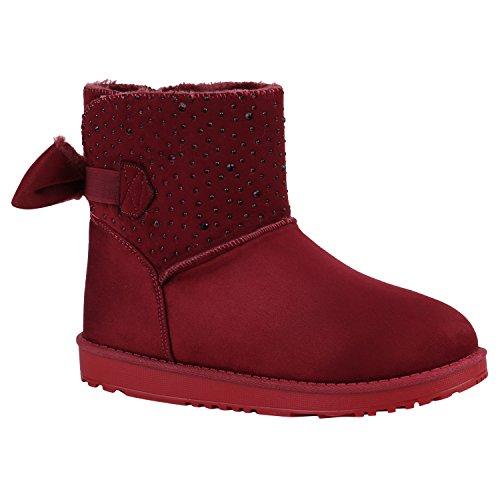 Damen Schuhe Stiefeletten Schlupfstiefel Warm Gefütterte Stiefel Strass 152383 Dunkelrot Bexhill 40 Flandell