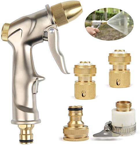 ECHG Garten Handbrause Hochdruck Gartenbrause/Garten Spritzpistolen 100% Metall Enthält mehrere Ersatzanschlüsse