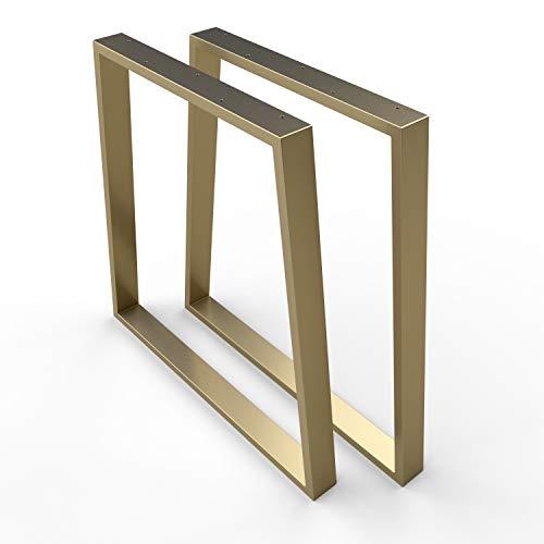 sossai® Stahl Tischgestell | GOLD MESSING | Tischkufen/Tischbeine 2er Set inkl. Filzgleiter | 2 Stück | Breite 70 cm (50 Trapez) x Höhe 70 cm | TKG6 | Profil Trapez 20x60mm