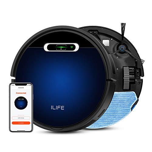 ILIFE B5 Max Robot Aspirapolvere, Wi-Fi connesso, fino a 2000Pa forte aspirazione, vuoto e mocio, grande pattumiera e sacchetti per aspirapolvere, auto-caricante, ideale per pavimenti duri