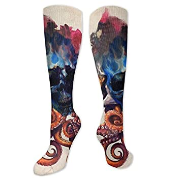 Best Octopus Skull Tattoos Designs Polyester Cotton Over Knee Leg High Socks Casual Unisex Thigh Stockings Cosplay Boot Long Tube Socks for Sports Gym Yoga Hiking Cycling Running Nurses