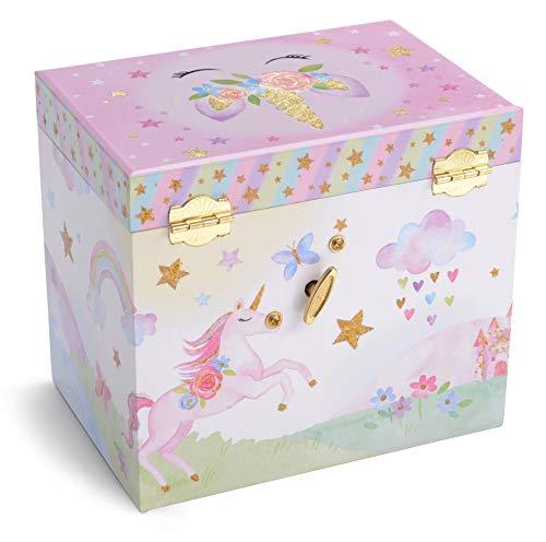 Jewelkeeper Musical Jewelry Box with 2 Pullout Drawers, Glitter Rainbow and Stars Unicorn Design, The Unicorn Tune 6