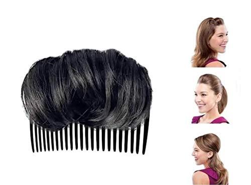 Chagoo Hair Thickening Fluffy Wig Real Hair Pad Invisible Fluffy Hair Pad, Volume Fluffy Princess Styling Increased Hair Pad (Black, 10cm)