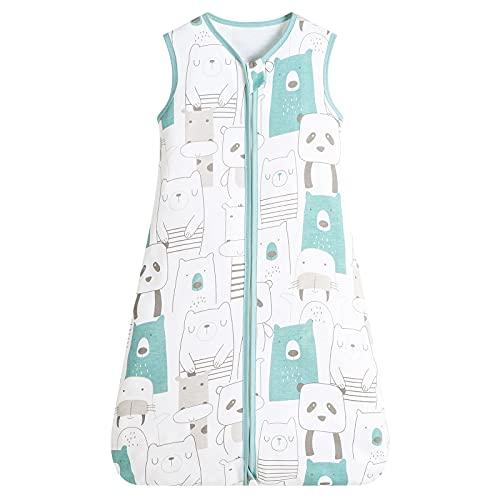 Herefun Saco de Dormir para Bebé, 0.5 TOG Saco de Sin Mangas Dormir de Verano Bebé con Cremallera, Transpirable Algodón para Recién Nacido 3-18 Meses (Panda, M)