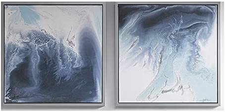 Madison Park Lagoon Wall Art Multi Blue White in Silver Frame Modern Home D cor Painting Gel product image
