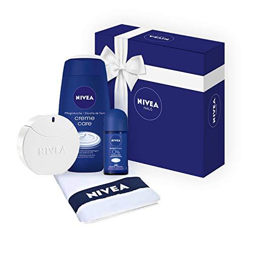 Geschenkset für Damen mit NIVEA Eau de Toilette Pflege-Duft in Parfum-Flakon (1 x 30 ml), Creme Care Duschgel, Protect & Care Roll-On Deo und Gäste-Handtuch