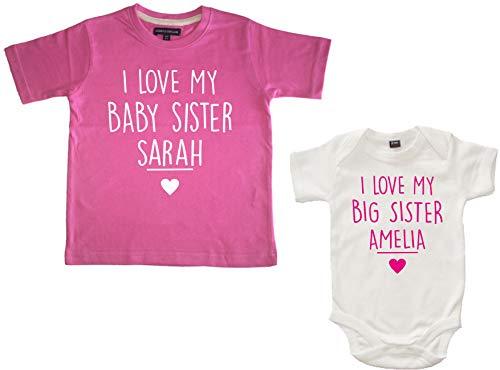 Edward Sinclair - Camiseta con texto en inglés 'I Love My Baby Sister', color rosa y blanco 'I Love My Big Sister' Bubblegum Rosa/Blanco 12-13 años/0-3 meses