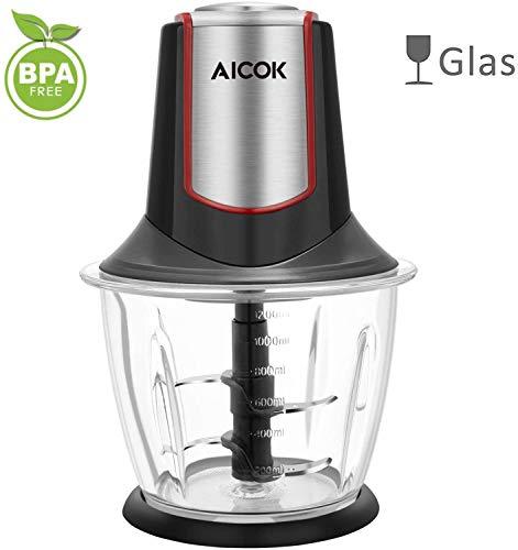 Aicok Hachoir en verre, 300W, mini hachoir, mini mixeur avec 4lames en acier inoxydable, exempt de BPA, hachoir pour cuisine avec récipient de 1,2L, pour fruits, légumes, viande et épices, couleur noir 03
