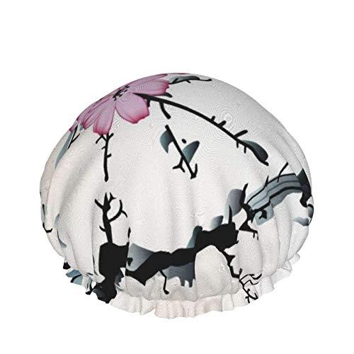 Style01 - Gorro de ducha de doble capa, diseño japonés con bambú y montañas, reutilizables, impermeables, elásticos, para todas las longitudes de cabello