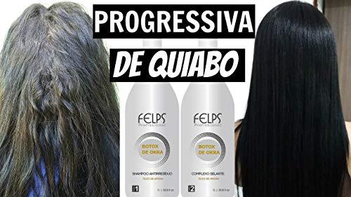 Felps BTOX de Okra Progressiva de Quiabo Brazilian Keratin Treatment 2L | Progressive Brush | Straightening & Smoothing System | Hair Straightening Therapy | 100% Straight Hair | Frizzy Free