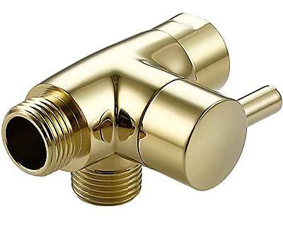 All Metal Shower Arm Diverter,G 1/2 3 Way Shower Diverter Valve For Hand Held Showerhead and Fixed Spray Head Diverter (Polished brass)
