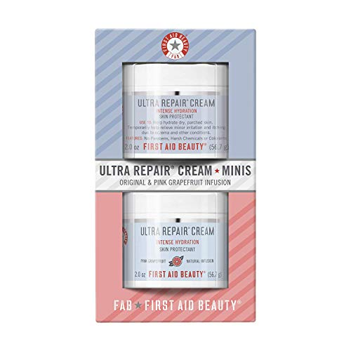 First Aid Beauty Ultra Repair Cream Intense Hydration Moisturizer for Face and Body Original and Pink Grapefruit Mini Samplers, 2 oz. jars (set of 2)