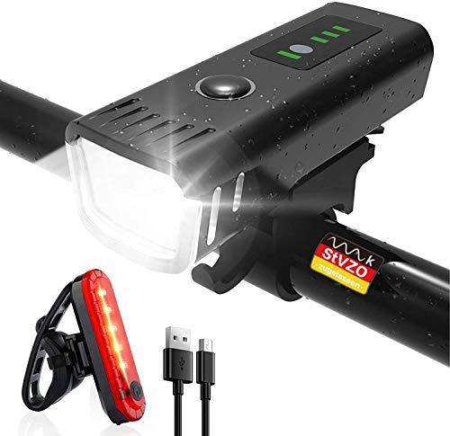 SHENMATE Fahrradlicht LED Vorne und Rücklicht Set, USB Aufladbar Fahrradbeleuchtung mit 4 Licht-Modi und Batterieanzeige, IPX4 Wasserdicht Fahrradlampe für Mountainbike und Rennrad