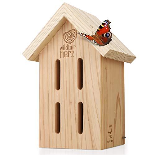 wildtier herz | Schmetterlingshaus - unbehandelt & robust, Insektenhotel Schmetterling aus wetterfestem Massiv-Holz – Schmetterlinge züchten für den Garten