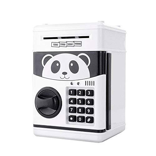 Jhua 1 Cartoon Bargeld Münze Dose, Passwort Elektronische Spardose Geldschranke Schlösser Panda Smart Voice Prompt Geld Piggy Box für Kinder, weiß