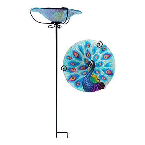Comfy Hour 28' Peacock Glass Top Birdbath Birdfeeder Metal Art Garden Stake