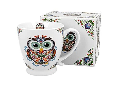 DUO Kaffeetasse Eule mit Fuß 450ml große Tasse Teetasse Kaffee-Tasse Tee-Tasse Tasse für Tee und Kaffee Eule Kaffeebecher Porzellan Kaffee-Becher Teebecher