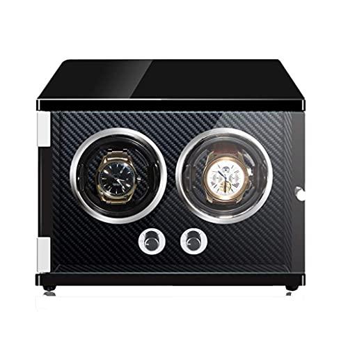 SGSG Devanadera automática de Lujo con 2 bobinadoras Iluminación LED Motor japonés Mabuchi Carcasa de Madera Fibra de Carbono Caja de Almacenamiento de Almohada de Cuero PU