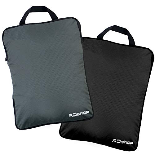 AQshop 圧縮バッグ 旅行 ファスナー 圧縮袋 セット 衣類収納 スペース節約 撥水 超軽量 出張 旅行便利グッズ トラベルポーチ (L黒グレー2個セット)