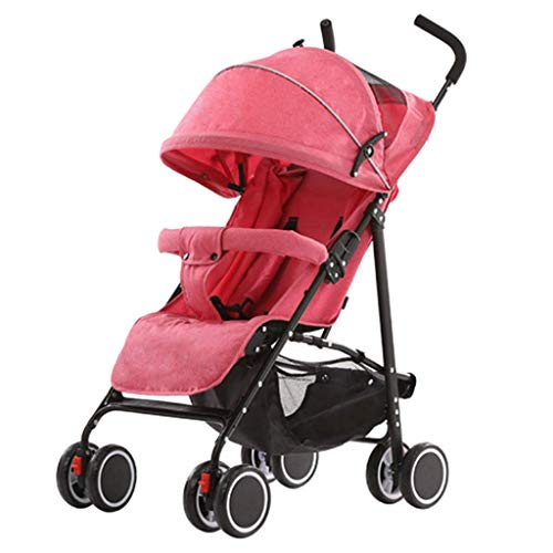 WJY Cart,Dining Car Medical Cart Diner Ultra-Light Portable Baby Stroller Can Sit Reclining Umbrella Folding Simple Four-Wheel Shock Baby Push Small Stroller Baby Cart,Pink