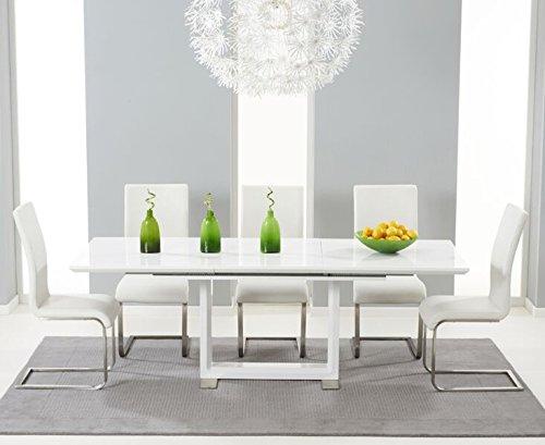 Oak Furniture House Harrison, Finitura Lucida, 6 posti-Tavolo Estensibile-Sedia, Colore: Bianco