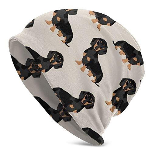 Gorro de Punto Gorros Gorro de Calavera Wiener Tela para Perros Doxie Dachshund Weiner Perro Mascotas Perros Gorro Holgado, Gorro de Gorro de Calavera elástico cálido de Invierno