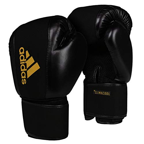 adidas Boxing Gloves Washable Guantes de Boxeo Lavables, Unisex Adulto, Negro y Dorado, Small/Medium