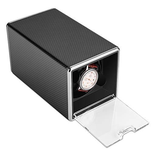 POUILLA Carbon Fibre Piano Finish Automatic Single Watch Winder Shine Dark...