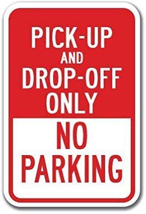 EstherMi19 - Placa de metal para pared con texto en inglés 'Pick-Up Drop-Off Only No Parking Heavy Gauge Warning Metal Signs Vintage', para bar, cafetería, tienda, recámara, decoración de pared, 20 x 30 cm