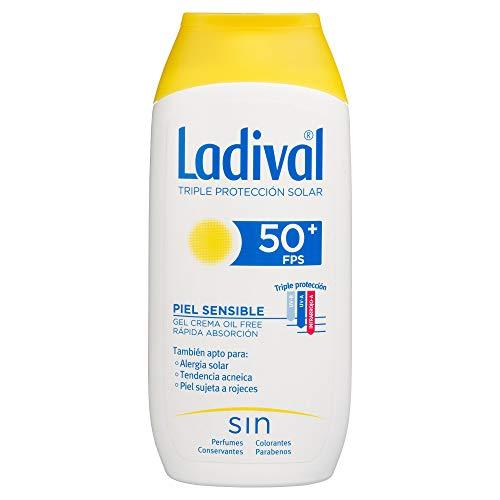 Ladival Pieles Sensibles o Alérgicas -  Protección Solar en Gel Crema (Oil free de absorción rápida, FPS 50+), 200 ml