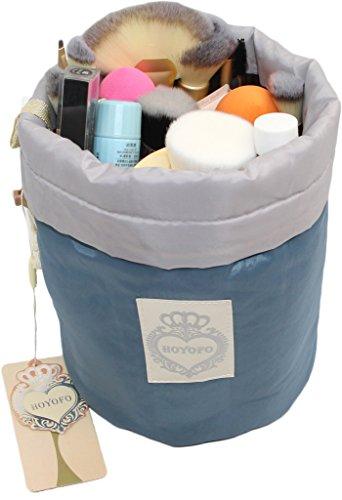 HOYOFO Makeup Bags Travel Drawstring Bags Cosmetics Barrel Bag Quick Packing Storage, Blue