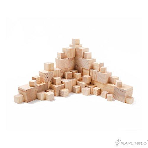 Holzwürfel, quadratische Holzbausteine, Natürliche unbearbeitete Blöcke, Holzrohling, Premium-Qualität, von Raylinedo 50MM 12PCS nature