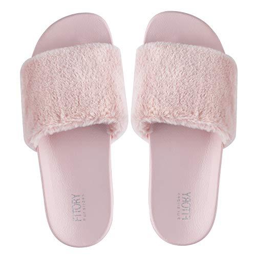 FITORY Damen Hausschuhe Plüsch Süße Weiche Indoor/Outdoor Pantoffeln mit Pelz rutschfeste, 35-40 EU,Rosa,35/36 EU (Herstellergrosse - S 5/6)