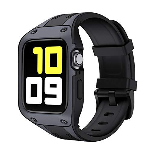 CHERRYY Banda de silicona deportiva al aire libre para Apple Watch 44 mm 42 mm Correa con estuche protector resistente para IWatch Series 4 5 Pulsera de muñeca