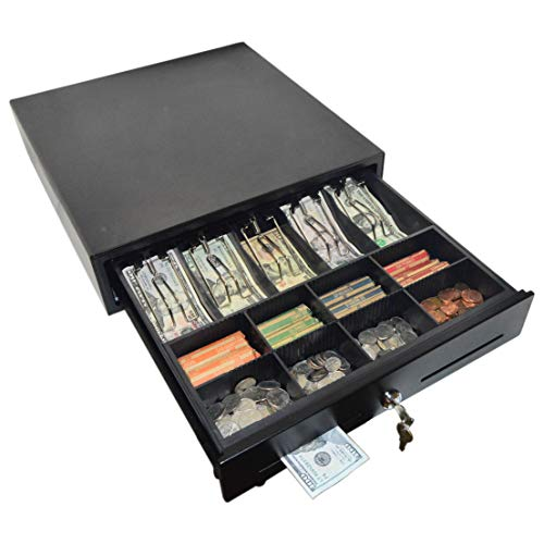 Science Purchase PL-420 Point of Sale/Register Heavy Duty Rj-12 Key-Lock Cash Drawer with Bill Coin Trays, Keep Your Money Safe, Black