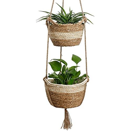 GESTAND 2er Hängende Pflanzenkörbe Drinnen Draußen mit Natürliche Seegras Blumentöpfe für Geschenk Home Dekoration