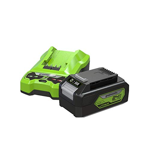 Greenworks Batería G24B4 y cargador G24UC , Li-Ion 24V 4Ah 60W salida 120 minutos tiempo carga a 4Ah apto para todos los dispositivos de la serie Greenworks de 24V