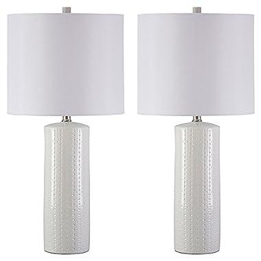 Ashley Furniture Signature Design - Steuben Textured Ceramic Table Lamp Set with Drum Shades - Contemporary - Set of 2 - White