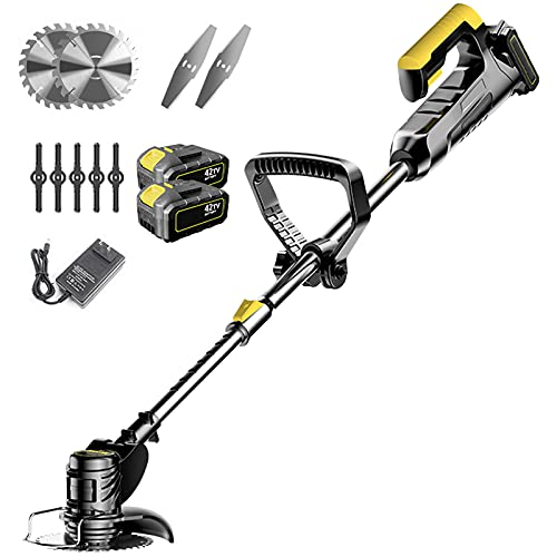 YNAYG Cordless Grass Trimmer, Mini Mower Telescopic Weed String Trimmer Electric Weed Eater Trimmer with 42V 12000 MAh Battery and Charger for Small Grass/Heavy Bush (Black)