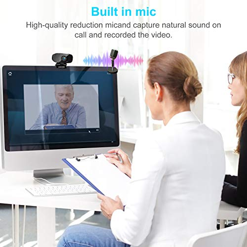 Aigoss Webcam Full HD 1080P mit Mikrofon USB 2.0 Plug & Play für Laptop, Computer, PC, mit Stativ, für YouTube, Skype Online Study, Videoanrufe, Live-Streaming-Konferenzen Kompatibel mit Windows/Linux