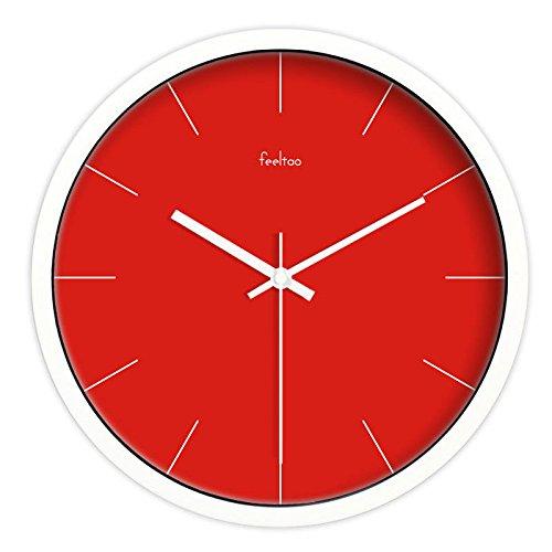 Wall Clock WERLM kunst klok mute wandklok rood mode metaal woonkamer klok tafel slaapkamer, modern parasolscherm φ, 12 inch (30,5 cm), wit frame