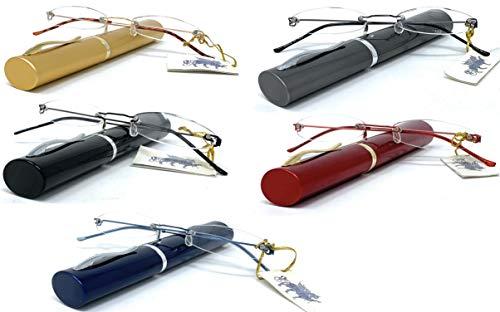 PACK DE 5 Gafas de lectura UNISEX, presbicia, vista cansada, LIGERAS estuche de aluminio GRATIS - Venice OVAL PENBOX Dioptría (1- 1,50 - 2 - 2,50-3 - 3,50) (+3,50, Roja, Negra, Azul, Dorada, Gris)