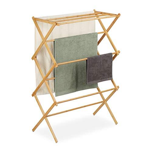 Relaxdays Toallero Plegable de bambú con 11 Barras en 6 Niveles, 106 x 74 x 36 cm, Color Natural