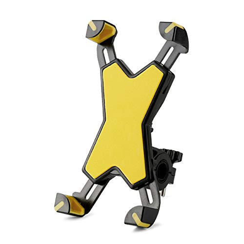Soporte para teléfono de Bicicleta, Abrazadera Universal Ajustable, Compatible con la mayoría de 4 a 7 Pulgadas (Amarillo)