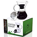 ParkBrew Pour Over Coffee Maker - includes glass pourover carafe (up to 27 fl. oz.), heat retaining...
